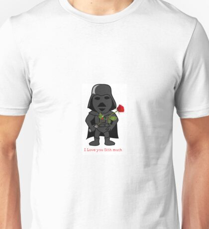 Cute Valentines Day Darth Vader with Rose Unisex T-Shirt