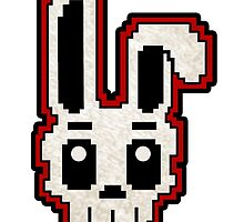 PIXEL ART - RABBIT SKULL (RED) by SobhiBecause
