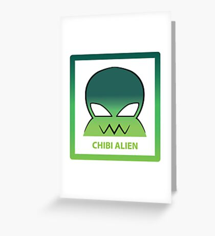 Chibi Alien 2 Green Greeting Card