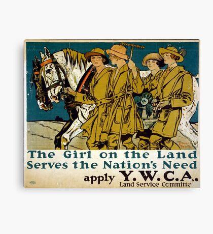 World War One - Poster - Girls Land Service Canvas Print