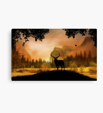 Yosemite with Elk, waterfall in sunset colors Canvas Print