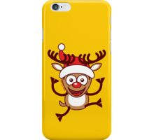 Cool Xmas Reindeer Wearing Santa Hat iPhone Case/Skin