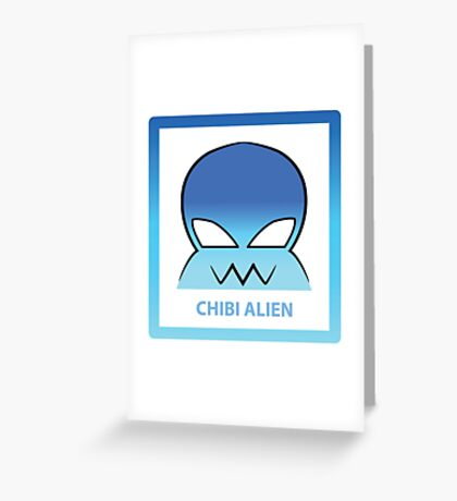 Chibi Alien 5 Light Blue Greeting Card