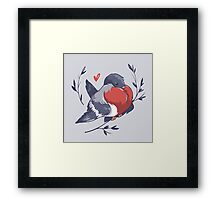 Red Heart Bird Framed Print