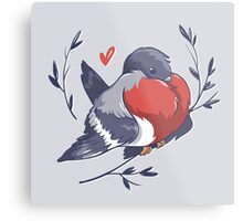 Red Heart Bird Metal Print