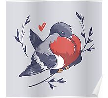 Red Heart Bird Poster