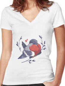 Red Heart Bird Women's Fitted V-Neck T-Shirt
