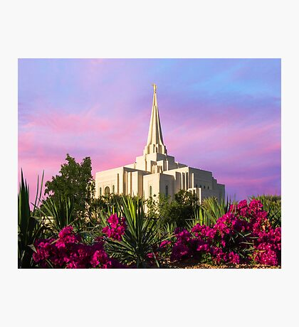 Gilbert Arizona Temple - Red Flower Sunrise - 24x20 Photographic Print