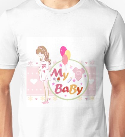 "Postcard or illustration, ""Mother and child future."" Unisex T-Shirt"