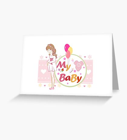 """Postcard or illustration, """"Mother and child future."""" Greeting Card"""