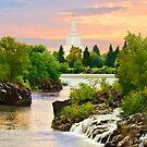 Waterfall Sunrise Idaho Falls Temple 24x20 by Ken Fortie