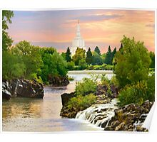 Waterfall Sunrise Idaho Falls Temple 24x20 Poster