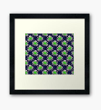 UFO Pug Pattern Framed Print
