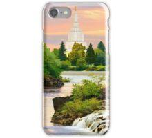 Waterfall Sunrise Idaho Falls Temple 30x20 hz iPhone Case/Skin