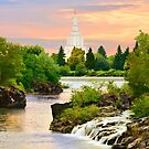 Waterfall Sunrise Idaho Falls Temple 30x20 hz by Ken Fortie
