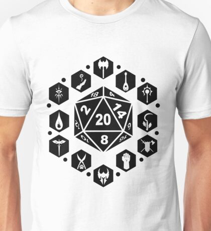 RPG Classes - Black Unisex T-Shirt
