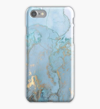 Blue Marble with Gold iPhone Case/Skin