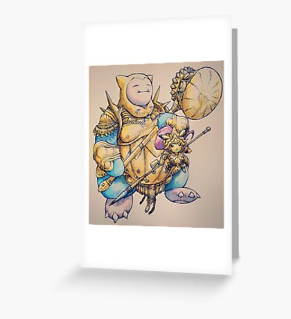 Pichachu and Snorlax Knights Greeting Card