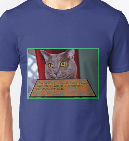 Cat with bible verse text 3 Unisex T-Shirt