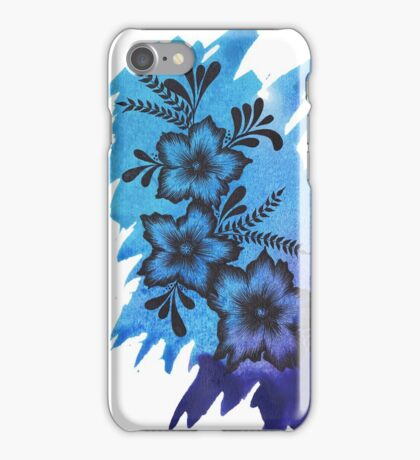 Blue Watercolour Flower Design  iPhone Case/Skin