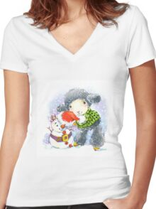 sheep. 01. New Year series Women's Fitted V-Neck T-Shirt
