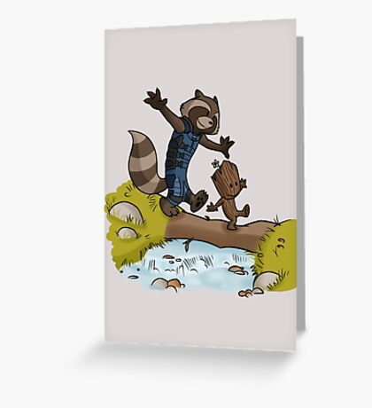 Rocket and Groot Greeting Card