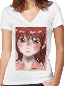 Deep Red Women's Fitted V-Neck T-Shirt