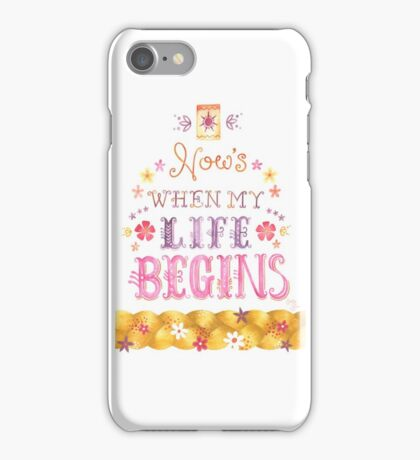 Tangled Typography When Will My Life Begin iPhone Case/Skin
