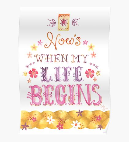 Tangled Typography When Will My Life Begin Poster