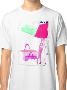 Watercolor shopping woman legs Classic T-Shirt