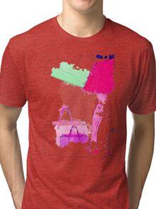 Watercolor shopping woman legs Tri-blend T-Shirt