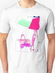 Watercolor shopping woman legs Unisex T-Shirt