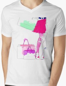 Watercolor shopping woman legs Mens V-Neck T-Shirt