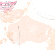 Watercolor woman with pink lips Sticker