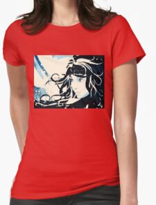 Winter girl background Womens Fitted T-Shirt