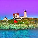 Lavender Sunset at Nubble Lighthouse by Julie Everhart