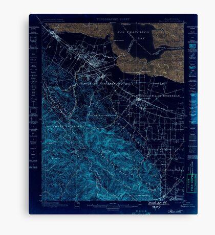 USGS TOPO Map California CA Palo Alto 298453 1899 62500 geo Inverted Canvas Print