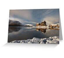 Eilean Donan Castle in Winter, Loch Duich, Scotland. Greeting Card
