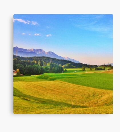 Mountain and Field Countryside Canvas Print