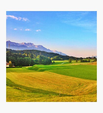 Mountain and Field Countryside Photographic Print