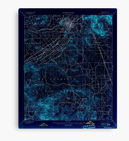 USGS TOPO Map California CA Riverside 298779 1901 62500 geo Inverted Canvas Print