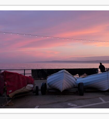 Boats at sunset in Filey, East Yorkshire. Sticker