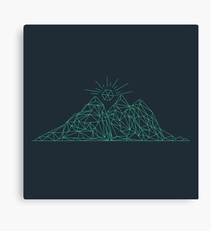 Mountain shape with low poly design. Mountains filled with triangles. Geometric simple design. Dark background with turquise illustration. Canvas Print