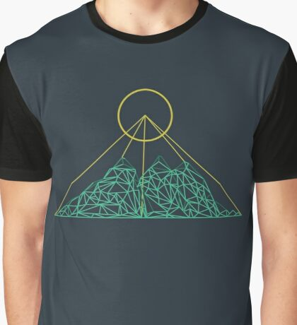 Mountain shape with low poly design. Mountains filled with triangles. Geometric simple design. Dark background with turquise and yellow illustration. Graphic T-Shirt