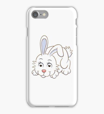 Cute white cartoon rabbit iPhone Case/Skin