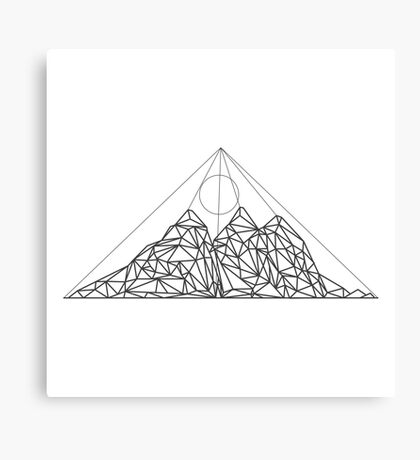Mountain shape with low poly design. Mountains filled with triangles. Geometric simple design. White background with black illustration. Canvas Print