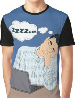 Tired Sleeping Businessman at Work. Pop Art Style Man with Laptop Graphic T-Shirt