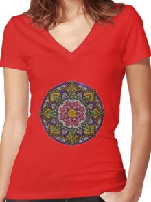Colorful metallic mandala  Women's Fitted V-Neck T-Shirt