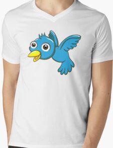 Adorable blue cartoon bird Mens V-Neck T-Shirt