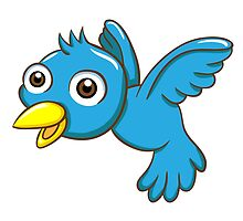 Adorable blue cartoon bird by berlinrob